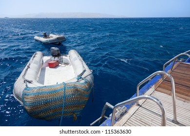 inflatable boats on the waves of the red sea