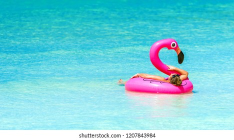 Inflatable circle in the shape of a pink flamingo, Boracay, Philippines. Copy space for text