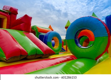 Inflatable, colorful castle in playground