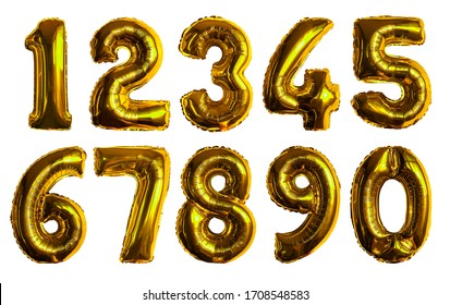 inflatable golden numbers made of foil on a white isolated background