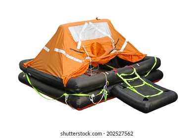 Inflatable life raft isolated