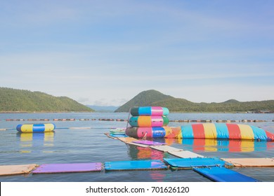 inflatable on the public lake with The mountain in the background,kanchanaburi,thailand