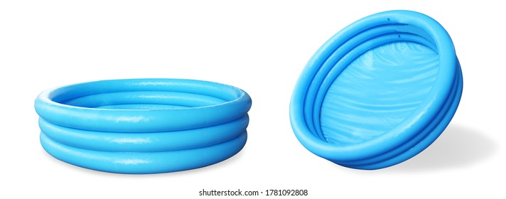 Inflatable paddling pool blue, without water empty.