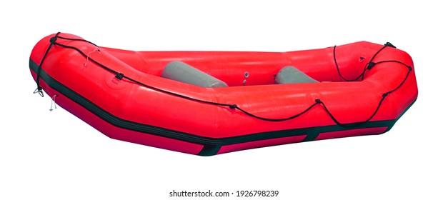 Barco de caucho rojo inflable aislado con sendero de recorte incluido