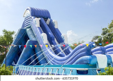 inflatable slide bounce or water sliders at water park