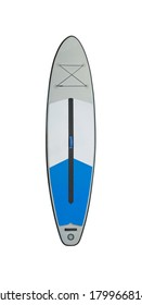 Inflatable stand up paddle board (SUP) isolated on white background