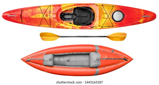 inflatable whitewater kayak and crossover river kayak with a paddle isolated on white, overhead view