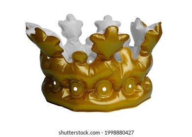 Inflatable yellow crown on a white background.