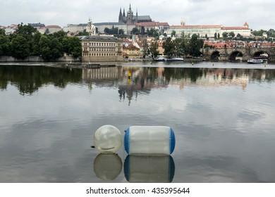 Inflatables on river Vltavn