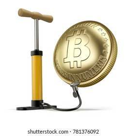 Inflated Bitcoin (3D concept with inflated bitcoin and bike pump) - 3D illustration