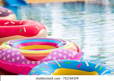 Inflated Pink Swan balloon in Swimming pool