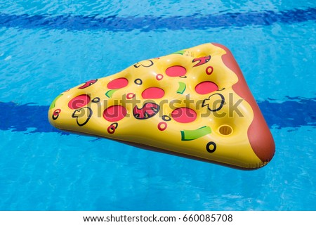inflated pizza balloon swimming pool stock photo edit now