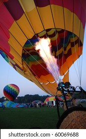 Inflating a hot-air balloon during a festival event in Plainville, Connecticut