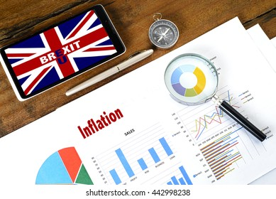 """""""Inflation"""" text on paper sheet with magnifying glass on chart mobile phone,compass, pen, on wooden table - business, banking, finance and investment concept"""