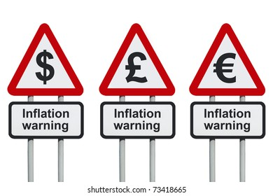 Inflation warning road sign, isolated on a white background