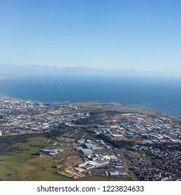 Inflight view of Aberdeen, Scotland, UK.