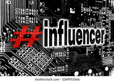 Influencer with circuit board concept background.