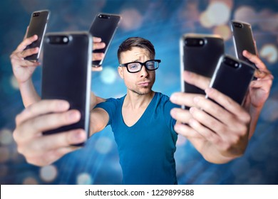 Influencer holding an exaggerated number of smartphones