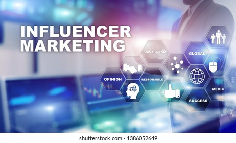 Influencer marketing concept in business. Technology, Internet and network. Abstract background mixed media.