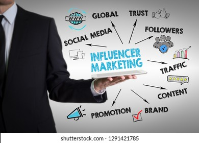 Influencer marketing concept. Chart with keywords and icons.  Man holding a tablet computer