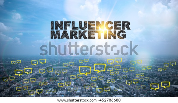 INFLUENCER MARKETING text on city and sky background with bubble chat ,business analysis and strategy as concept