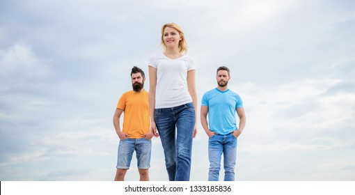 Influential women leader. Moving forward support male team. What makes successful female leader. Girl leader qualities possess naturally. Leadership concept. Woman in front of men feel confident.