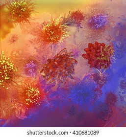 Influenza virus, Staphylococcus aureus,Sexually transmitted microorganism, model of microbes. Microbes of different shapes 3d illustration Healthcare background
