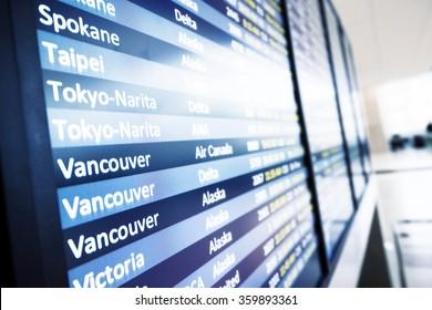 info of flight on billboard in airport