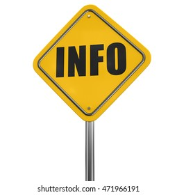 Info road sign. Image with clipping path