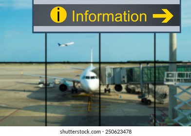 info signage of information in airport
