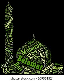 Info text Eid Mubarak greetings composed in Mosque shape concept in black background