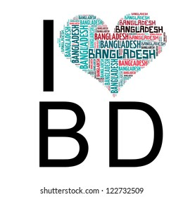 Info text graphic Bangladesh composed in I Love BD concept isolated in white background