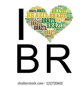Info text graphic Brazil composed in I Love BR concept isolated in white background