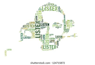 Info text graphic Listen in Boy listen word cloud isolated in white background
