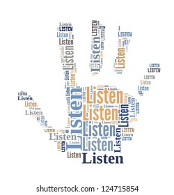 Info text graphic Listen in word cloud isolated in white background