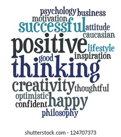 Info text graphic Positive Thinking in word cloud isolated in white background