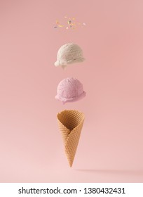 Infographic design of ice cream with colorful sprinkles. Minimal summer background. Food deconstructed food styling concept.
