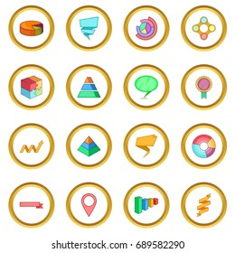 Infographic design icons circle gold in cartoon style isolate on white background  illustration