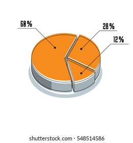 infographic element, percent segments circle 3d illustration isolated on white background.