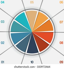 Infographic Pie chart template from colorful circle with text areas on 10 positions