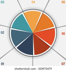 Infographic Pie chart template from colorful circle with text areas on 7 positions