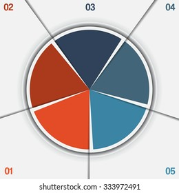 Infographic Pie chart template from colorful circle with text areas on 5 positions