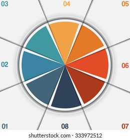 Infographic Pie chart template from colorful circle with text areas on 8 positions