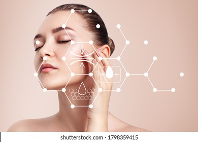 Infographic shows moisturizing and cleansing effect on beautiful female face. - Shutterstock ID 1798359415
