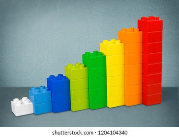 Infographic Stair Chart Bar, Children Toy Blocks Increase Info Graphic, over White with Clipping Path