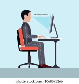 Infographics correct posture at the computer silhouette of a man at a table .