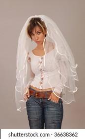 informal bride on gray background