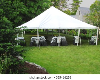 informal events tent in the backyard