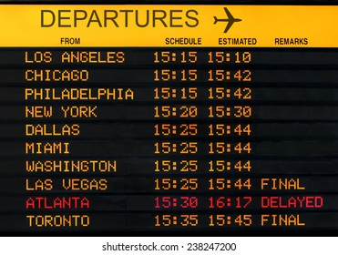 Information board with canceled flights at USA airport