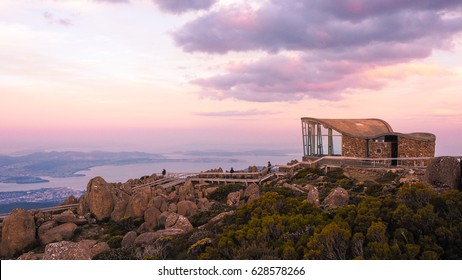 Information center, lookout on the summit of Mount Wellington at sunrise with amazing sky, Tasmania, Australia